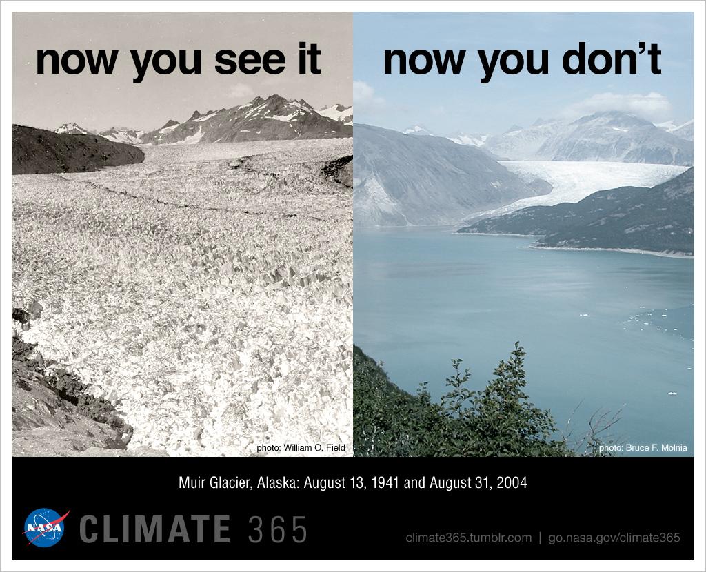 Muirglaciären i Alaska, en jämförelse mellan augusti 1941 och augusti 2004.